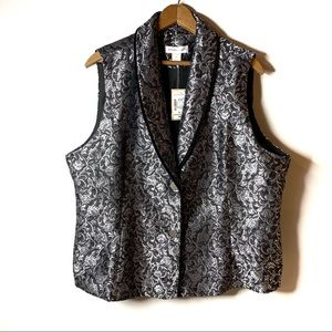 CHRISTOPHER & BANKS SILVER JACQUARD VEST LINED XL